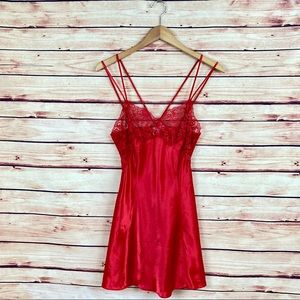 Vintage Victoria's Secret Red Chemise Lingerie S